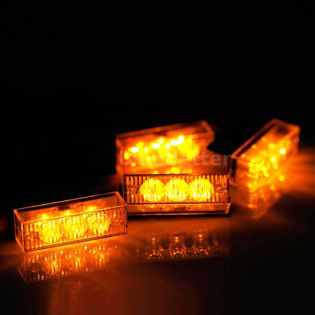 12v 4 3 led car front grille deck emergency warning lights. Black Bedroom Furniture Sets. Home Design Ideas