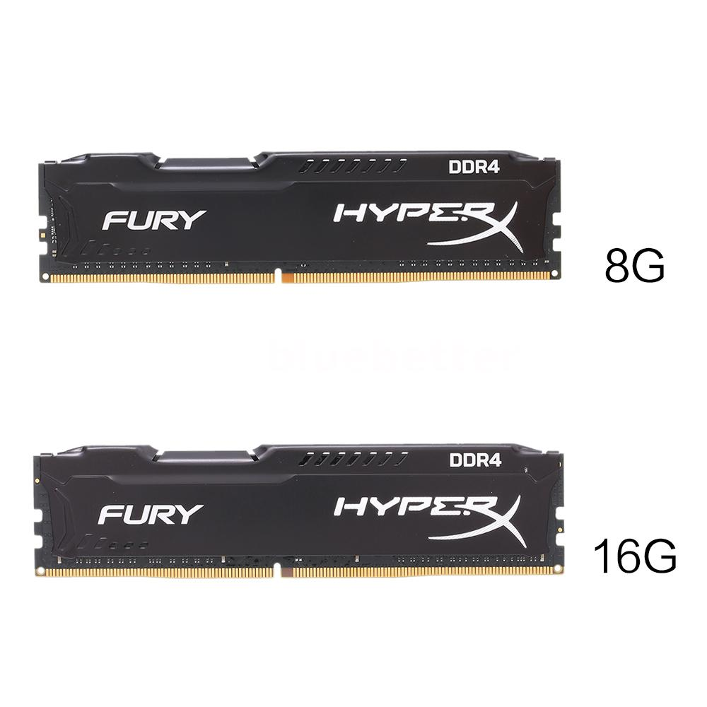 kingston hyperx fury black 8gb 16gb ddr4 2400mhz cl15 ram desktop memory k4z1 ebay. Black Bedroom Furniture Sets. Home Design Ideas