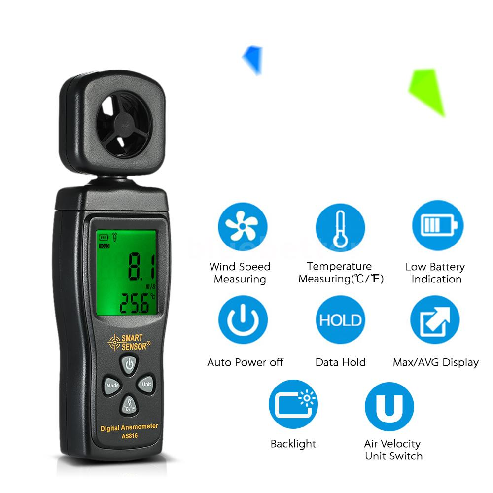 Wind Speed Meter : Digital wind speed meter anemometer temperature tester