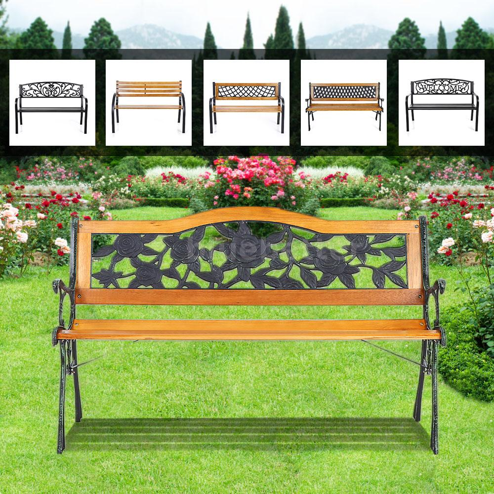 Ikayaa Outdoor Porch Garden Benches Park Bench Metal Patio Lawn Chair Seat F9t6 Ebay