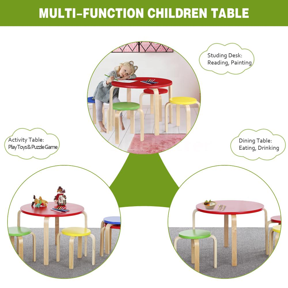 Cute solid wood round kids table and 4 chairs set for Cute toddler chairs