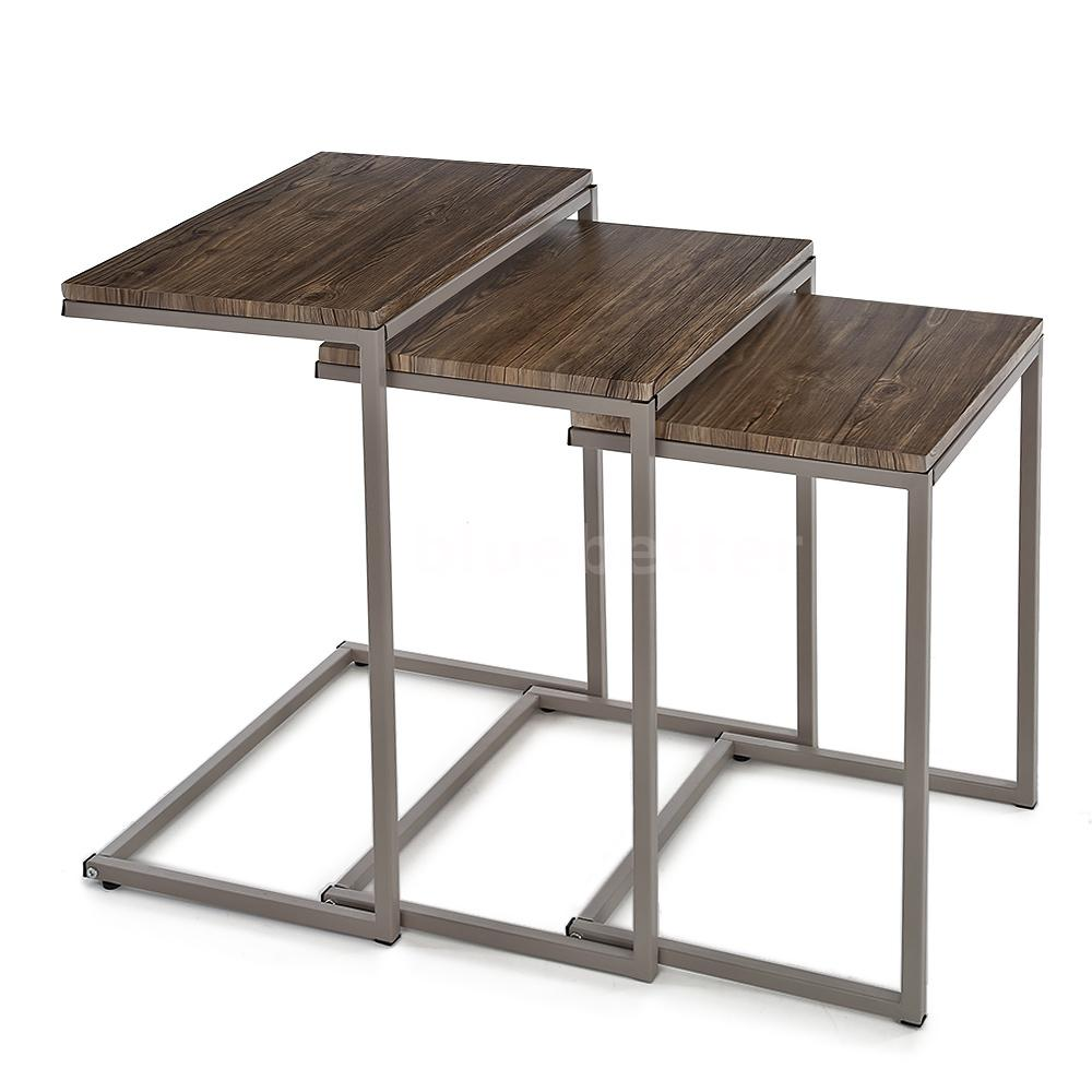 3pc metal frame stacking nesting table set end coffee for Side coffee table set