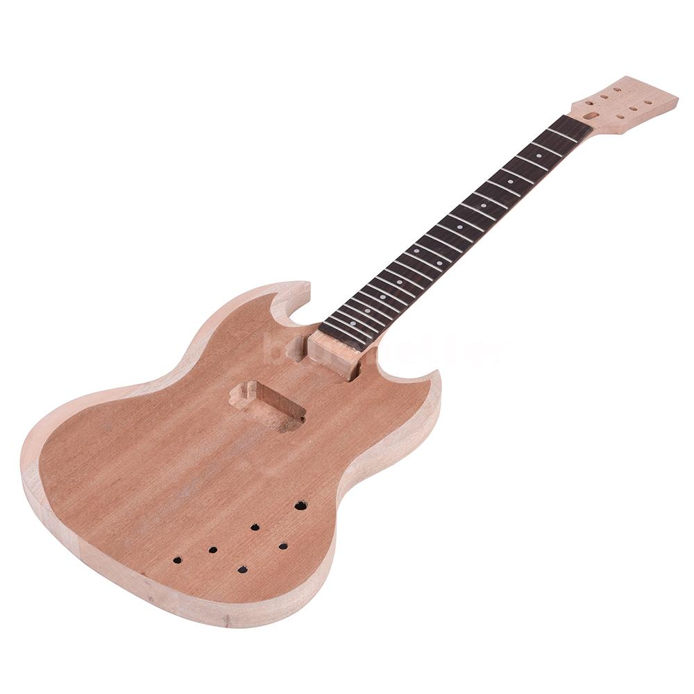 new type diy electric guitar kit mahogany body neck rosewood j8o0 ebay. Black Bedroom Furniture Sets. Home Design Ideas
