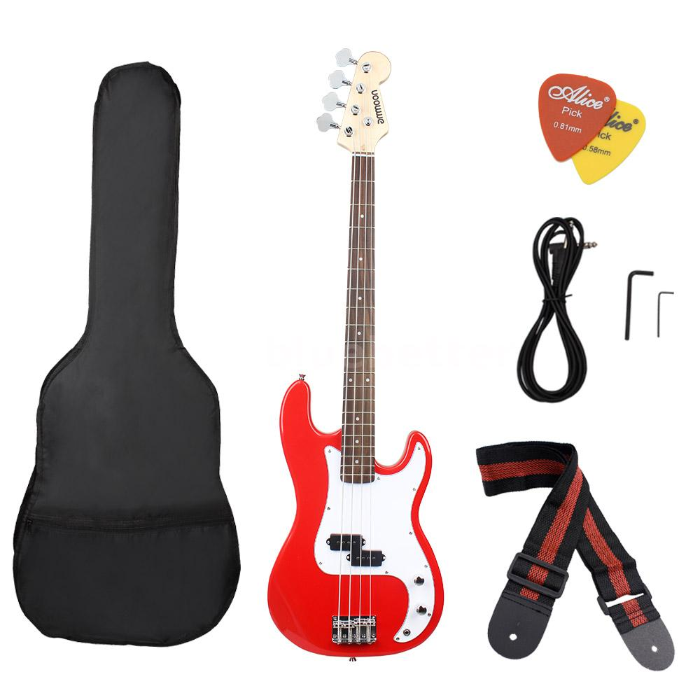 ammoon full size 4 string electric bass guitar w strap bag amp cord a7h0 ebay. Black Bedroom Furniture Sets. Home Design Ideas