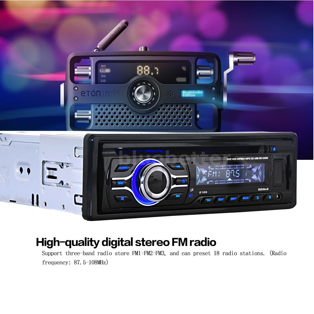 12v remote car stereo radio cd dvd vcd mp3 mp4 player fm aux input sd usb port ebay. Black Bedroom Furniture Sets. Home Design Ideas